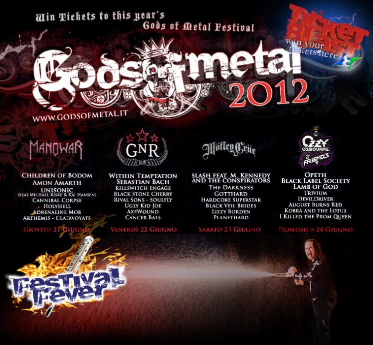 Win Gods of Metal tickets 2012