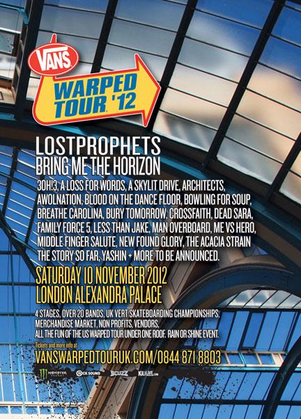 Vans Warped Tour 2012 UK poster